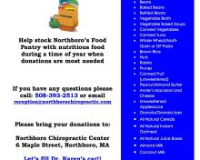 Healthy Food Drive at Northboro Chiropractic Center