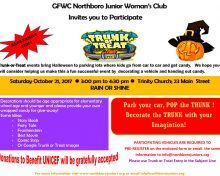 JWC announces Trunk or Treat Event